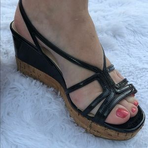 PRADA Black Patent Leather Cork Wedge Strappy Heel